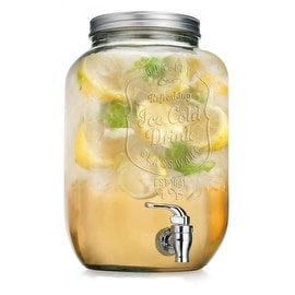Palais Glassware High Quality Mason Jar Beverage Dispenser - Traditional Tin Screw Off Lid - 2 Gallon Capacity