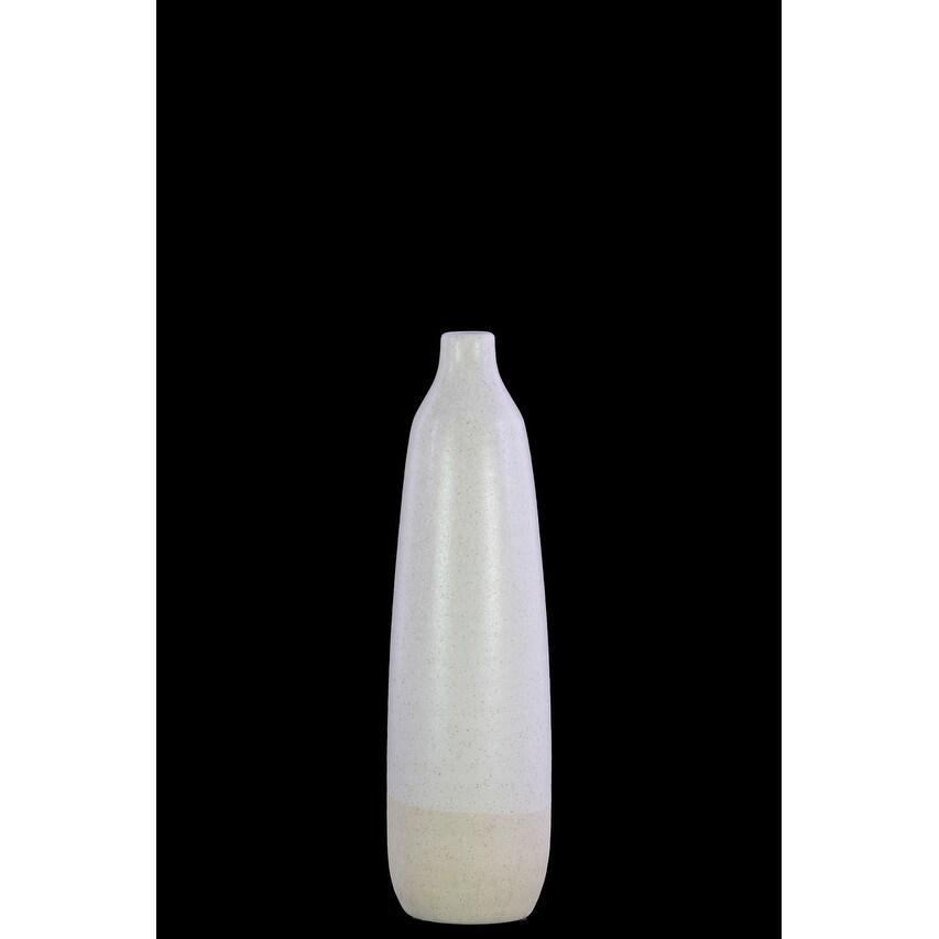 Ceramic Bottle Vase With Cream Banded Rim Bottom, White