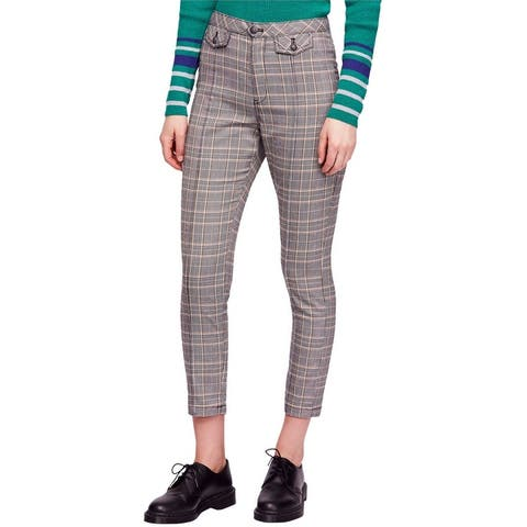 Free People Womens Crop Plaid Casual Trouser Pants