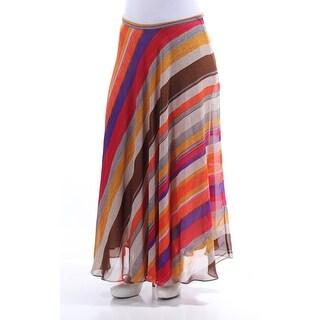 RALPH LAUREN $125 Womens New 1055 Brown Striped Maxi A-Line Casual Skirt 6 B+B