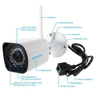 720P HD Wireless WIFI Bullet IP Camera 1.0MP 1/4'' CMOS 4mm Lens 36pcs IR LEDS Support Night Vision Motion Detection