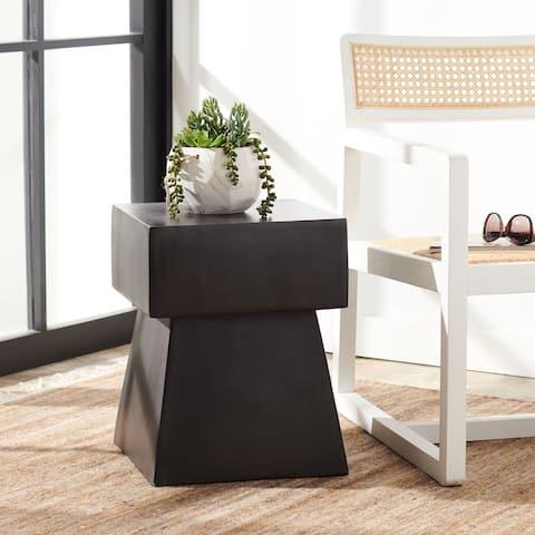 """SAFAVIEH Outdoor Zen Concrete Indoor/Outdoor Accent Table - 13.7"""" W x 13.7"""" L x 18.1"""" H"""