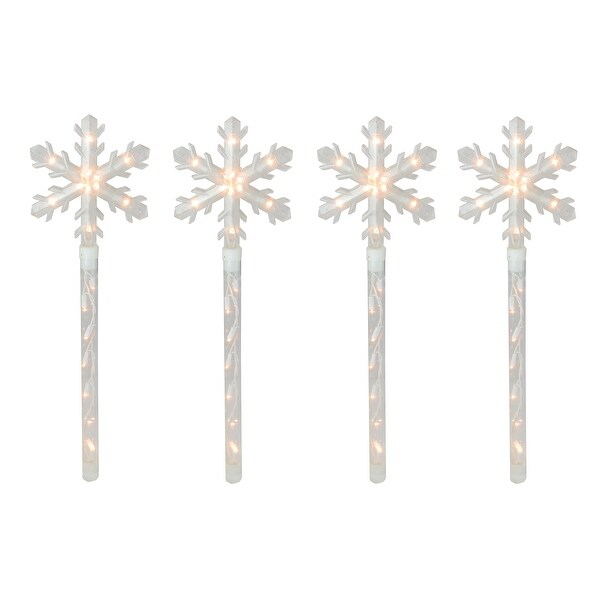 Set of 4 Lighted Snowflake Christmas Pathway Marker Lawn Stakes - Clear Lights - N/A