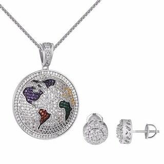 "World Map Pendant Multi Color Lab Diamonds Stud Earrings 24"" Steel Chain"