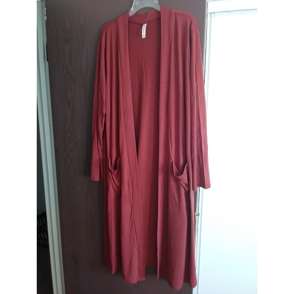 5178d2ead4208 Shop JED Women s Plus Size Knee Length Solid Cardigan with Pockets - Free  Shipping On Orders Over  45 - Overstock - 18588610