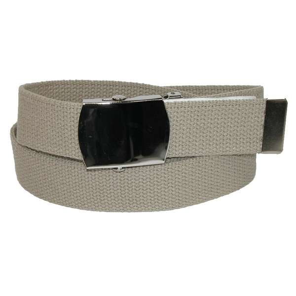 CTM® Big & Tall Cotton Belt with Nickel Finish Buckle (Pack of 3)