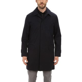 Andrew Marc Vail Vintage Waxed Trench Coat Medium Navy With Down Liner