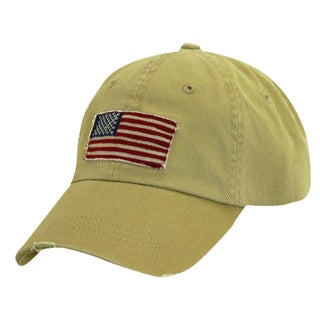 Dorfman Pacific Cotton Stars and Stripes American Flag Baseball Hat (Option: Khaki)