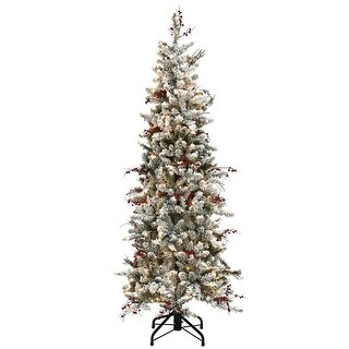 Link to 7.5 ft. Memory-Shape® Snowy Freehold Spruce Pencil Slim Tree with Clear Lights Similar Items in Christmas Greenery