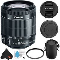 Canon EF-S 18-55mm f/3.5-5.6 Lens (8114B002WB) + Deluxe Lens Pouch + Deluxe Cleaning Kit + MicroFiber Cloth Bundle