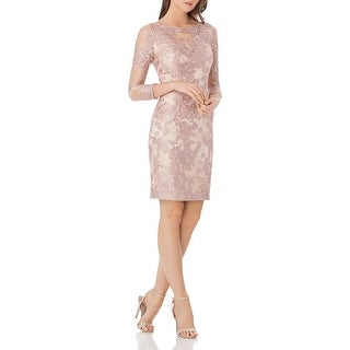 JS Collections Womens Cocktail Dress Lace V-Back - Pink/Nude
