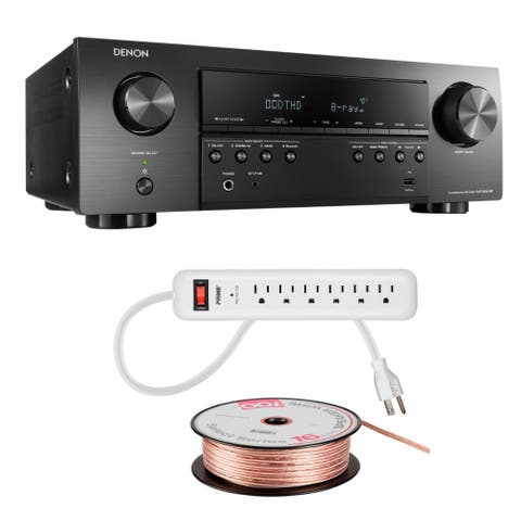 "Denon AVR-S540BT 5.2Ch A/V Receiver with Speaker Wire and Power Strip - 17.1"" x 5.4"" x 12.6"""