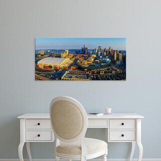 Easy Art Prints Panoramic Images's 'Aerial view of Detroit skyline, Wayne County, Michigan, USA' Premium Canvas Art