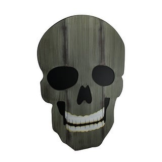 Creepy Distressed Finish Giant Skull Wood Wall Hanging w/Easel Stand 26 in. - Green