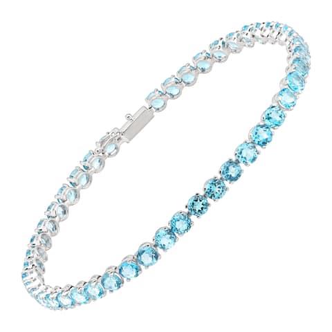 Natural Swiss Blue Topaz Tennis Bracelet in 14K White Gold
