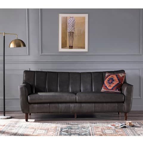"Carson Carrington Varmvikssund Channel Back Grey Leather Sofa - 78""Wx34""Dx34""H"