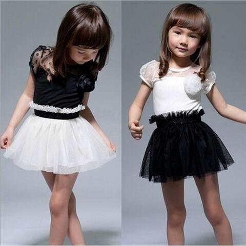Children's Clothing Kids Toddlers Girls White/Black Flower Princess Tutu Mini Dress 2-7Yrs