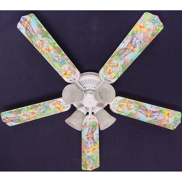 Pooh and Friends Print Blades 52in Ceiling Fan Light Kit - Multi