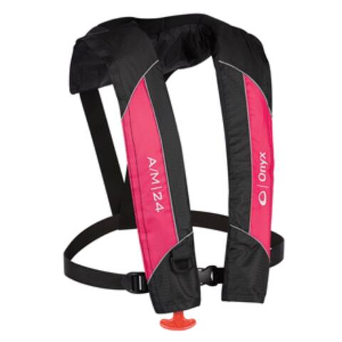 "18"" Pink and Black A-24 Automatic/Manual Inflatable Vest"