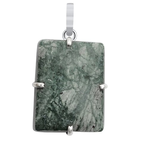 Ocean Jasper Sterling Silver Octagon Solitaire Pendant by Orchid Jewelry