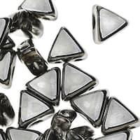 Czech Glass Kheops par Puca, 2-Hole Triangle Beads 6mm, 9 Grams, Argentees Silver