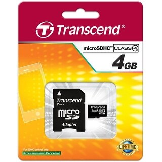 Transcend TS4GUSDHC4M SECURE DIGITAL, MICRO, 4GB, SDHC CL4