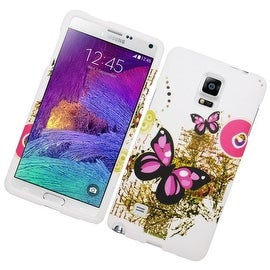 Insten Pink/ White Butterfly Hard Snap-on Rubberized Matte Case Cover For Samsung Galaxy Note 4