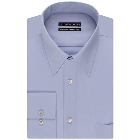 """Geoffrey Beene Mens Bedford Button Up Dress Shirt, Blue, 18"""" Neck 37""""-38"""" Sleeve"""