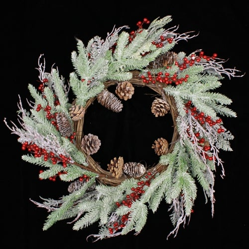 Frost Berry Pine cone Wreath