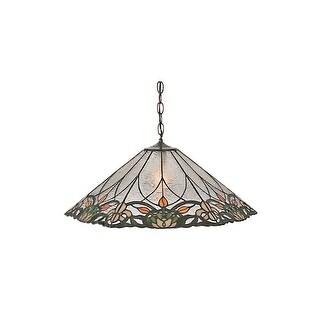 "Meyda Tiffany 99556 Single Light 24"" Wide Pendant with Handmade Shade - Bronze"