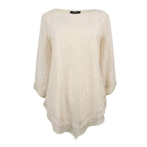 Alfani Women's Pointed-Hem Lace Top (M, Pearled Ivory) - Pearled Ivory - M