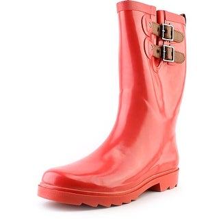 Chooka Top Solid Dual Strap Mid Women Round Toe Synthetic Rain Boot