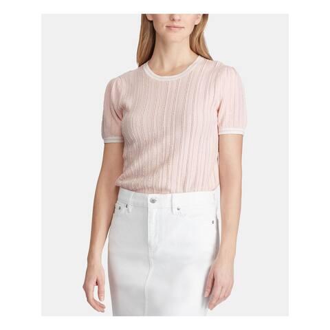RALPH LAUREN Womens Pink Short Sleeve Jewel Neck Sweater Size XL