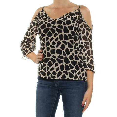 BAR III Womens Black Cold Shoulder Animal Print 3/4 Sleeve V Neck Top Size: M