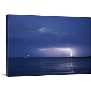 Premium Thick-Wrap Canvas entitled Lightning storm over a lighthouse, Lake Superior