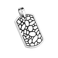 Stainless Steel Pebble Rock Pattern Cast Dog Tag Pendant (27 mm Width)