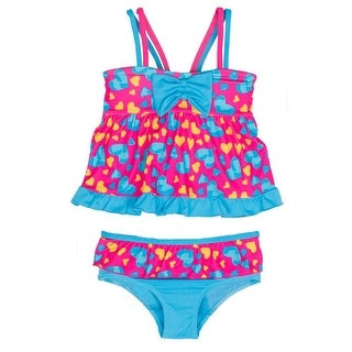 Pink Platinum Baby Girls Love Hearts Two Piece Tankini Swimsuit 24 Months