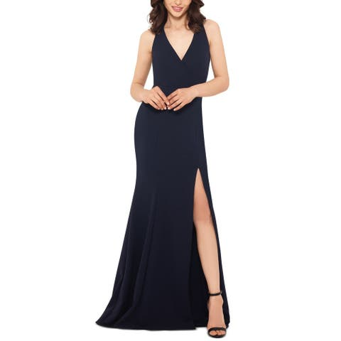 Xscape Women's Dress Midnight Deep V Split Side Gown