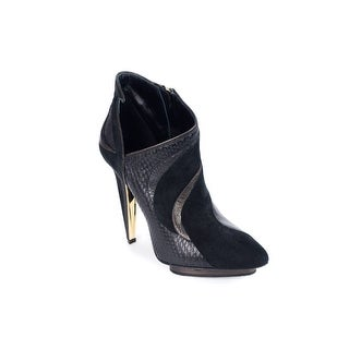 Roberto Cavalli Women's Black Suede Patterned Boots
