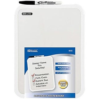 2 Pk, BAZIC Dry-Erase Whiteboard Including a Dry Erase Marker - 8.5 X 11 Inch