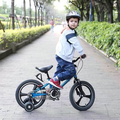 16 Inch Kids Bike with Training Wheels,Handbrake,Rear Brake,Blue
