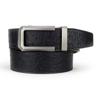 Nexbelt Premium Classic Ostrich Black Leather Strap Dress Belt