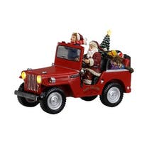 "5"" Red Santa and Child in Truck Christmas Decoration"