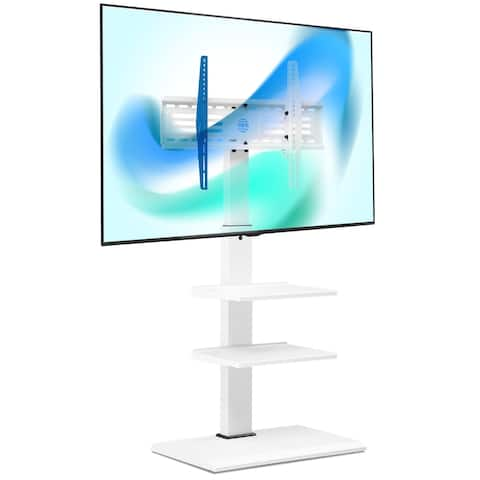 FITUEYES White Swivel Floor TV Stand with Mount for 32-65 Inches with Two Shelves - 65 Inches