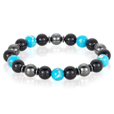 Natural Stone with Onyx and Magnetic Hematite Stretch Bracelet (10mm)