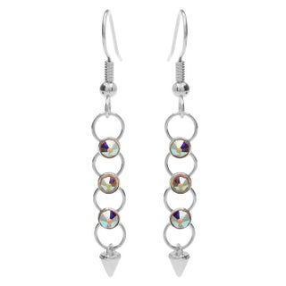 Crystaletts Spike Earrings-CrystalAB/Silver - Exclusive Beadaholique Jewelry Kit