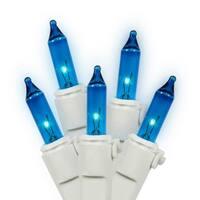 Set of 35 Blue Mini Christmas Lights - White Wire