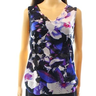 INC NEW Black Pink Women's Size Small S V-Neck Mesh Blossom Tank Top