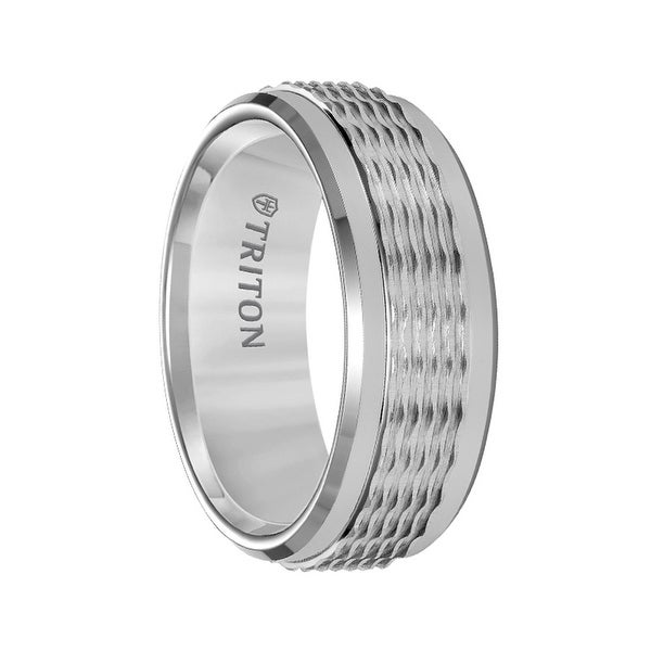 Grey Tungsten Men's Wedding Ring with Wavy Textured Center & Polished Beveled Edges by Triton Rings - 8mm