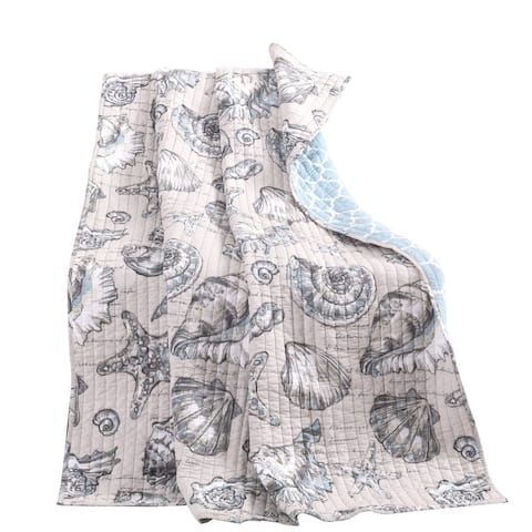 Madrid Beach Print Reversible Throw Blanket with Fabric Bound Edges,White and Gray